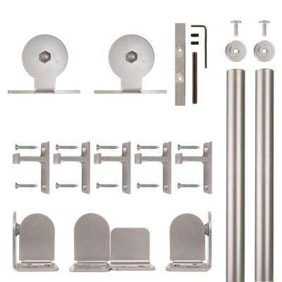 Top Mount Satin Nickel Rolling Door Hardware Kit for 1-1/2 in. to 2-1/4 in. Door