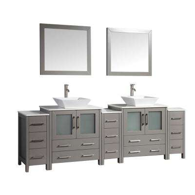 Ravenna 96 in. W x 18.5 in. D x 36 in. H Bathroom Vanity in Grey with Double Basin Top in White Ceramic and Mirrors