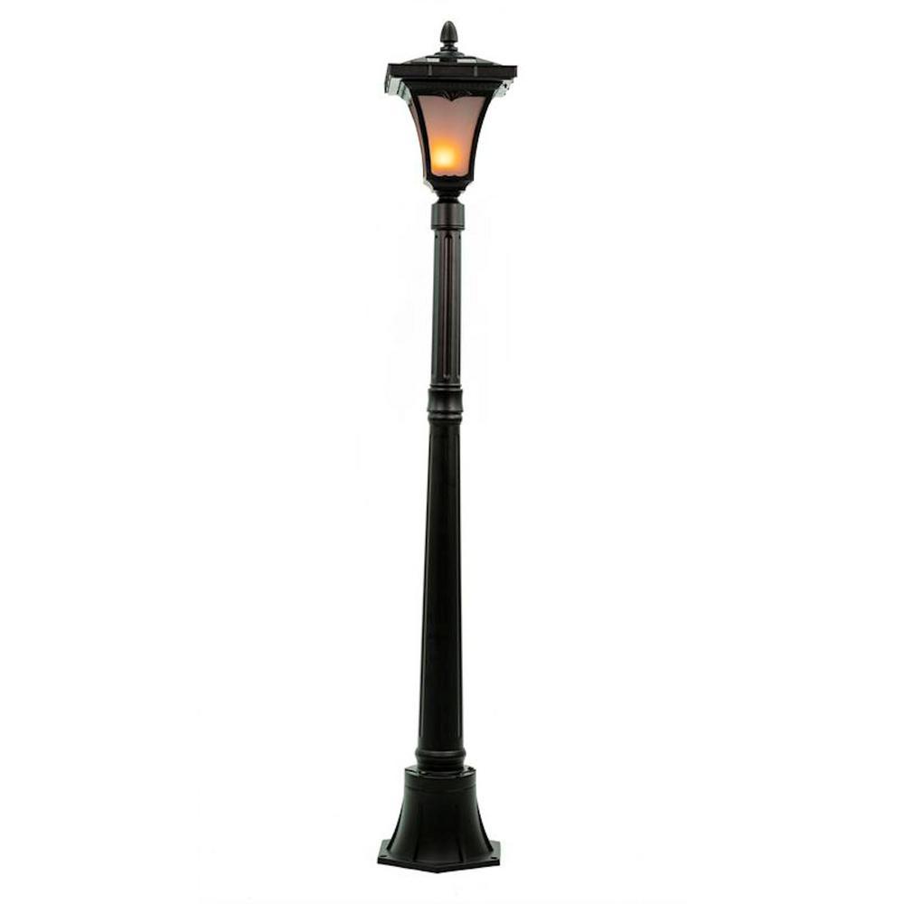 SunRay Vittoria 52 in. Single Head Black Flickering Candle Light Outdoor Solar Lamp Post