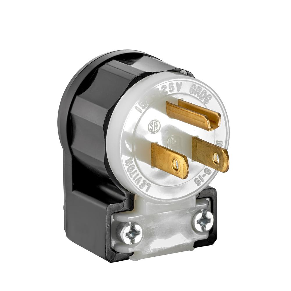 Leviton 15 Amp 125-volt Angle Plug  Black And White-r51-05266-acs