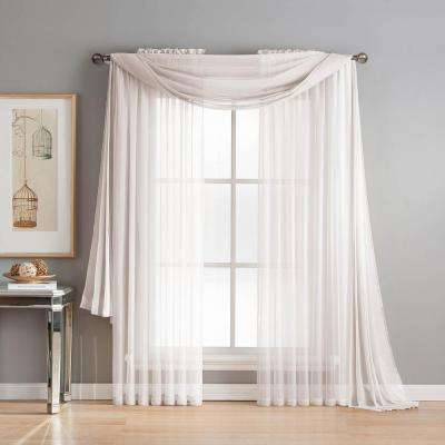 Diamond Sheer Voile 56 In. W X 216 In. L Curtain Scarf In White