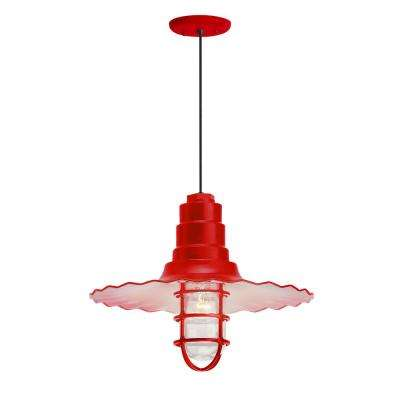 Radial Wave 18 in. Shade 1-Light Red Finish Pendant