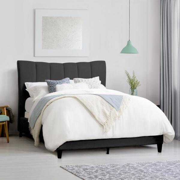 CorLiving Rosewell Dark Grey Fabric Vertical Channel-Tufted King Bed Frame