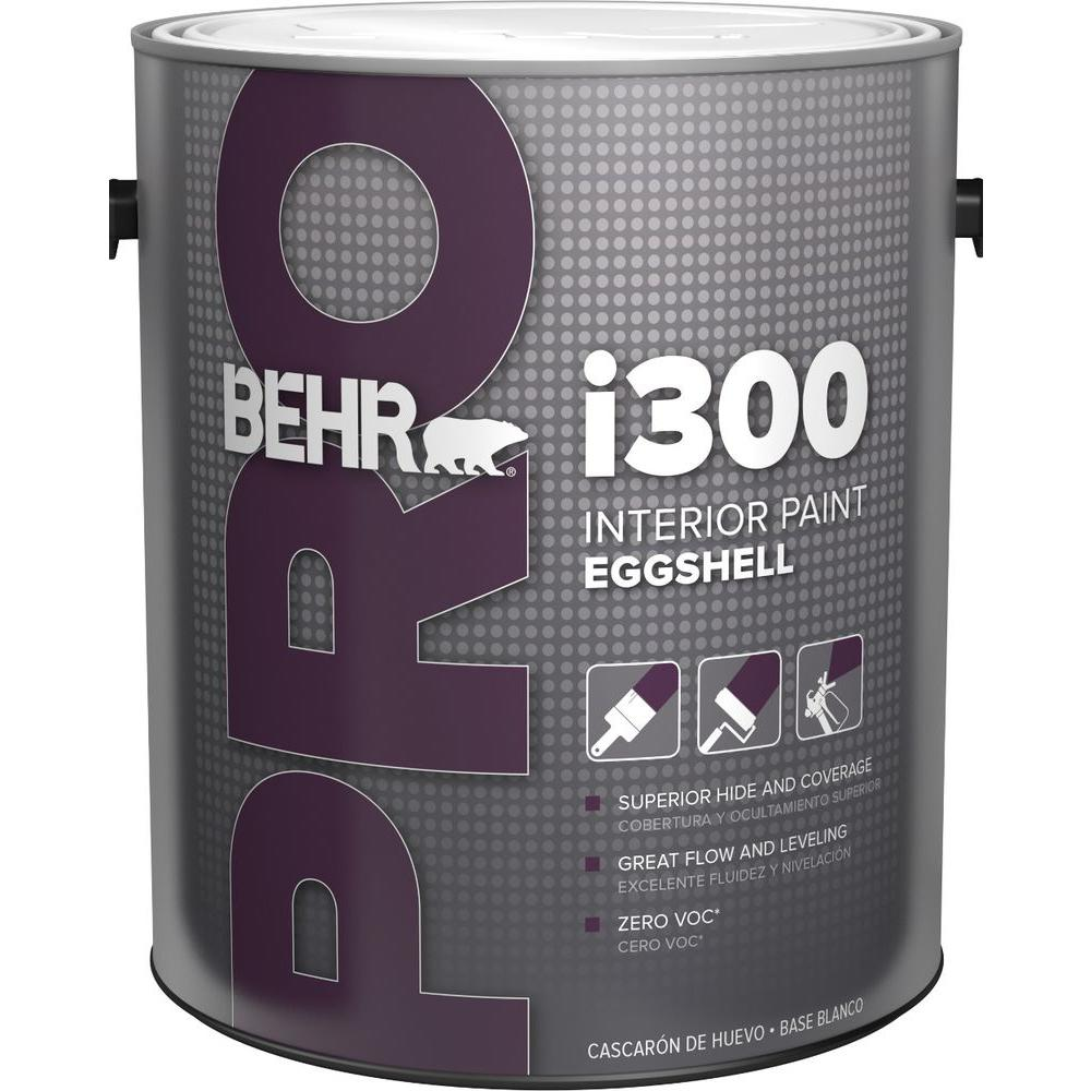Behr pro 1 gal i300 white eggshell interior paint pr33001 for Paint pros
