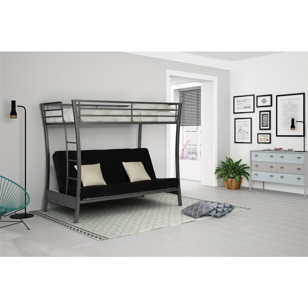 dhp metropolis twin size bunk bed over full size futon in gray 4078419 the home depot. Black Bedroom Furniture Sets. Home Design Ideas