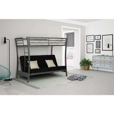 Metropolis Twin Size Bunk Bed over Full Size Futon in Gray