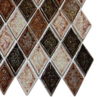 Roman Selection IL Fango Diamond 3 in. x 6 in. x 8 mm Glass Mosaic Floor and Wall Tile Sample