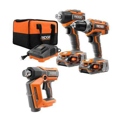 18-Volt Cordless Butane Heat Gun with 18-Volt Lithium-Ion Cordless Brushless Drill/Driver and Impact Driver Combo Kit