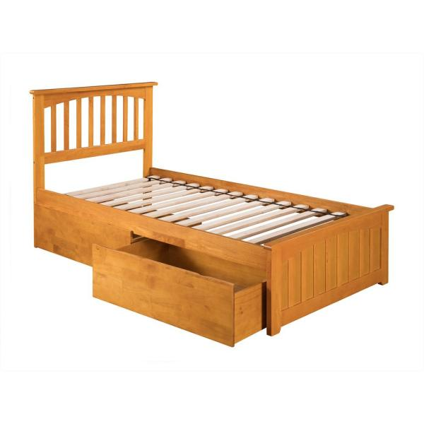 Atlantic Furniture Mission Caramel Twin XL Platform Bed with Matching Foot