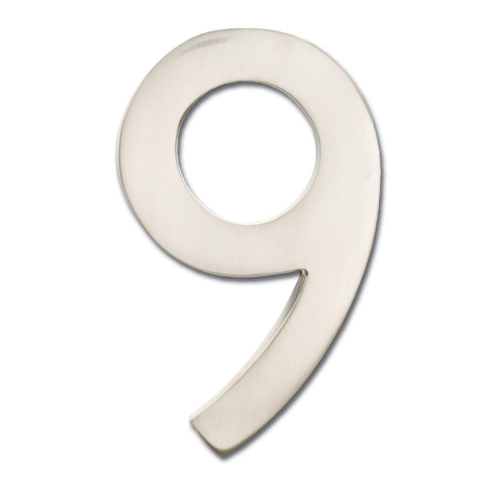 Architectural Mailboxes 4 in. Satin Nickel Floating House Number 9