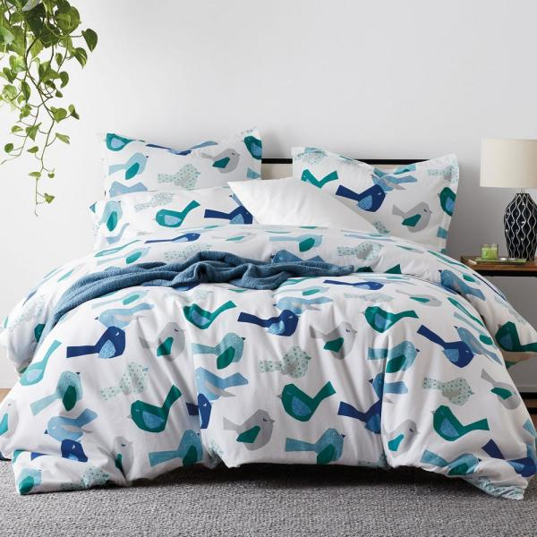 The Company Store Feathered Friends Flannel Queen Duvet Cover 50317D-Q-MULTI