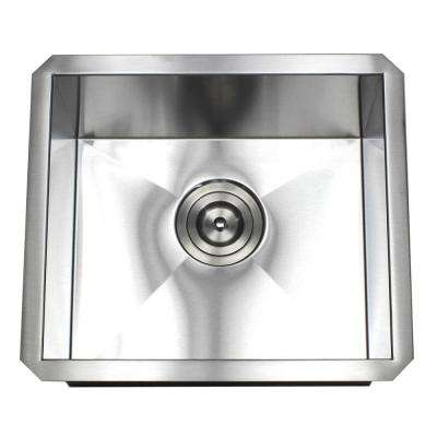 Undermount 16-Gauge Stainless Steel 17 in. x 15 in. x 9 in. Prep / Bar / Island Single Bowl Zero Radius Kitchen Sink