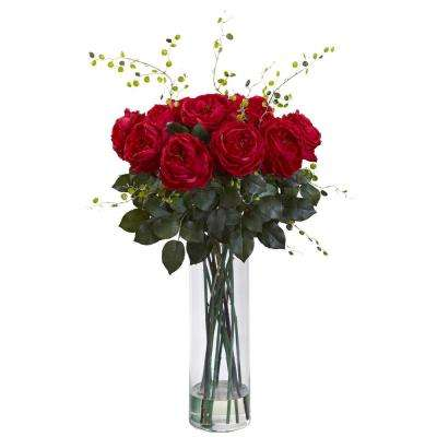32 in. Giant Fancy Rose and Willow Arrangement in Red