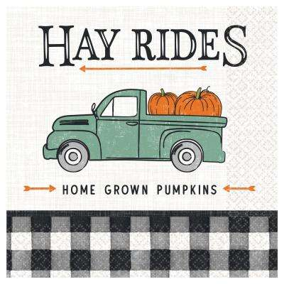 6.5 in. x 6.5 in. Multi-Color Paper Fall Harvest Market Lunch Napkins (5-Pack)