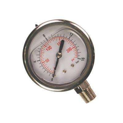 200 PSI Glycerin Filled Pressure Gauge