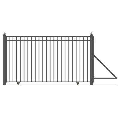 Madrid Style 14 ft. x 6 ft. Black Steel Single Slide Driveway with Gate Opener Fence Gate