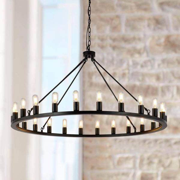 Unbranded Industrial 24 Light Vintage Black Wagon Wheel Chandelier Ws Gyc12024 The Home Depot
