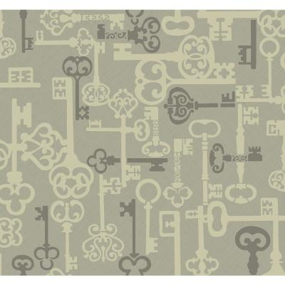Vintage Key Metallic Silver and Gray Traditional Wallpaper