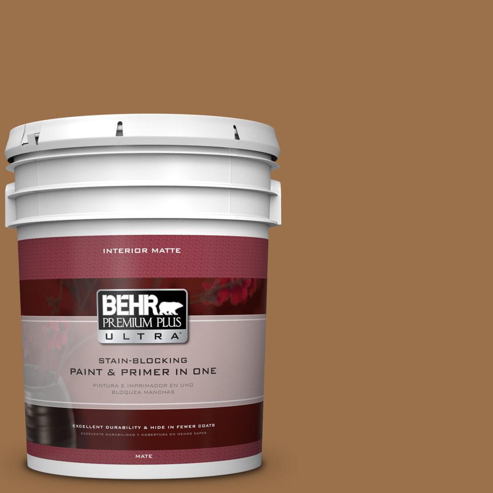 BEHR Premium Plus Ultra 5 gal. #PPU4-17 Olympic Bronze Flat/Matte Interior Paint