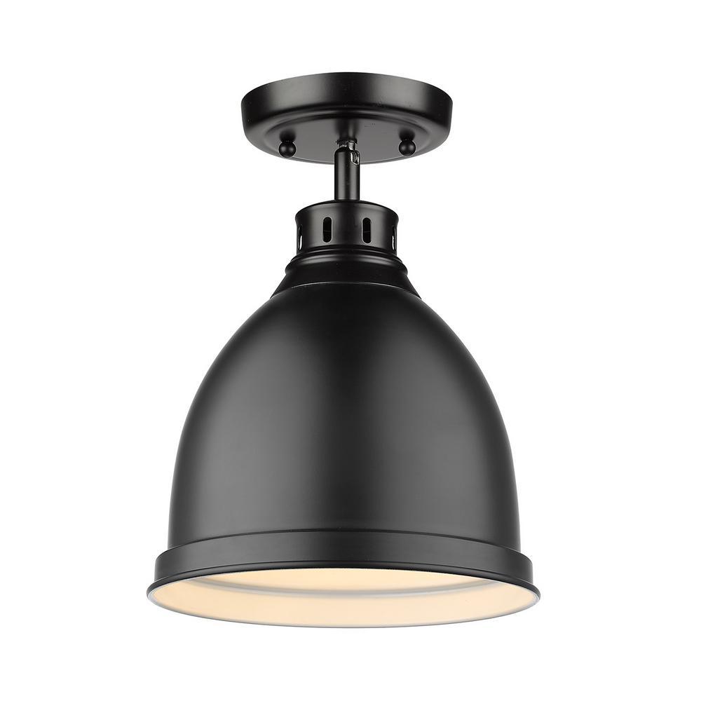 Duncan Collection 1-Light Black Flush Mount with Matte Black Shade