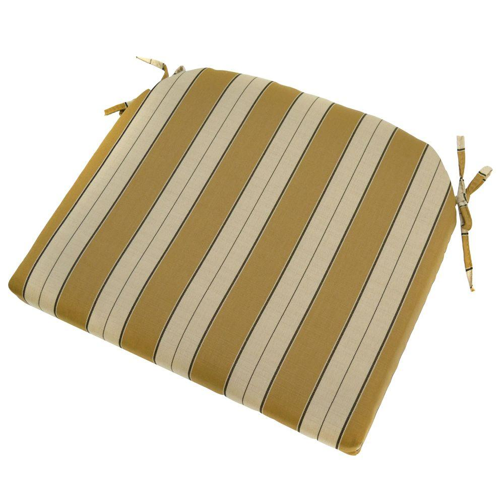 Plantation Patterns Wheat Stripe Outdoor Seat Pad (2-Pack)-DISCONTINUED