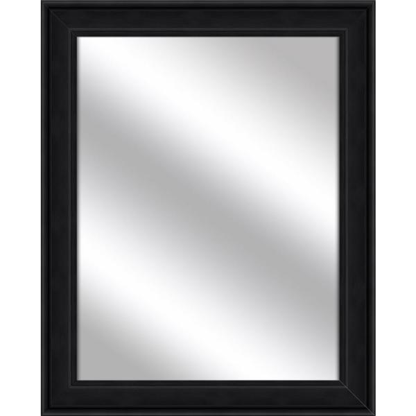 Medium Rectangle Wood Grain Black Art Deco Mirror (31.5 in. H x 25.5 in. W)