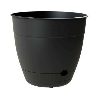 Dayton 12 in. Wide by 10.95 in. Tall Black Self-Watering Plastic Planter