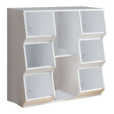 33.5 in. W x 33 in. H White Wood Kids Toy Storage 8-Cubes Cubby Chest