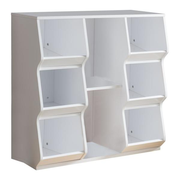 335 In W X 33 In H White Wood Kids Toy Storage 8 Cubes Cubby Chest