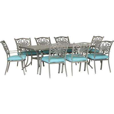 Traditions 9-Piece Aluminum Outdoor Dining Set with Blue Cushions 8-Stationary Chairs and a Dining Table