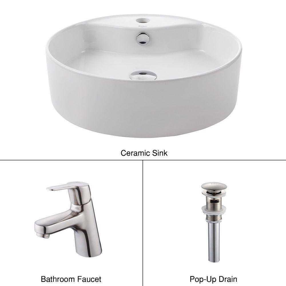 KRAUS Round Ceramic Sink in White with Ferus Basin Faucet in Brushed Nickel