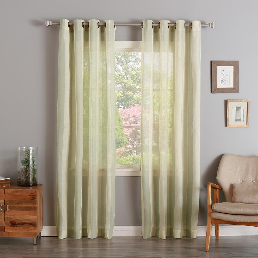 Best Home Fashion 84 In. L Spruce Faux Linen Mesh Stripe Curtain (2