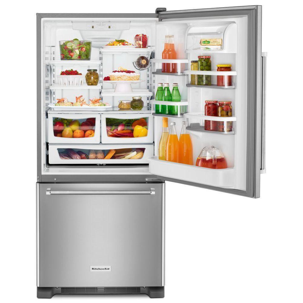 Kitchenaid 19 Cu Ft Bottom Freezer Refrigerator In Stainless Steel