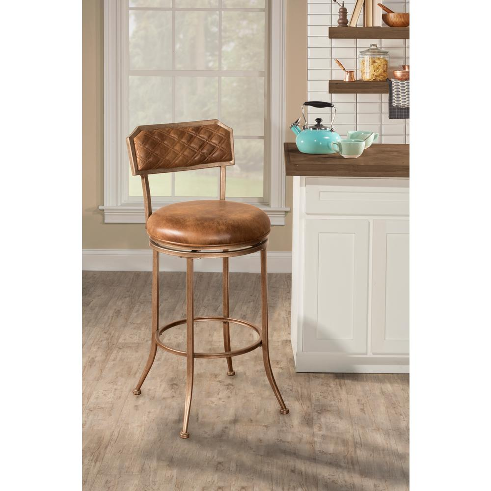 Hillsdale Furniture Grant Bronze Pewter Swivel Bar Stool 4590 833 The Home Depot