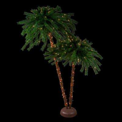 6 ft. Pre-Lit Dual Clear Lights Tropical Outdoor Patio Artificial Palm Trees
