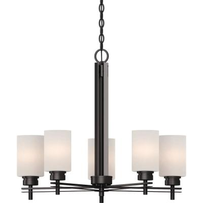 Carena 5-Light Indoor Antique Bronze Hanging Chandelier with Etched White Cased Glass Cylinder Shades