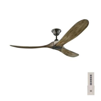 Maverick 60 in. Indoor/Outdoor Aged Pewter Ceiling Fan with Light Grey Weathered Oak Blades, DC Motor and Remote Control