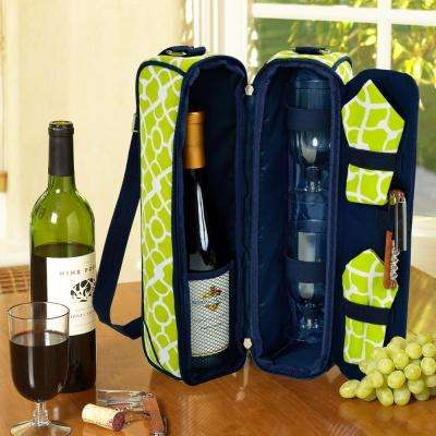 Sunset Trellis Green Wine Tote for 2 with Glasses