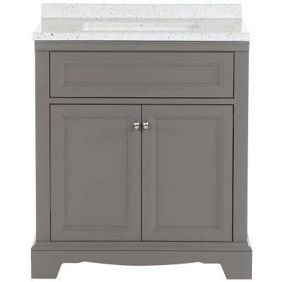Windsor Park 31 in. W Bathroom Vanity in Taupe Gray with Solid Surface Vanity Top in Silver Ash with White Sink