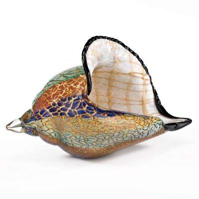 8 in. L x 5 in. H Murano Style Artistic Glass Large Conch Shell