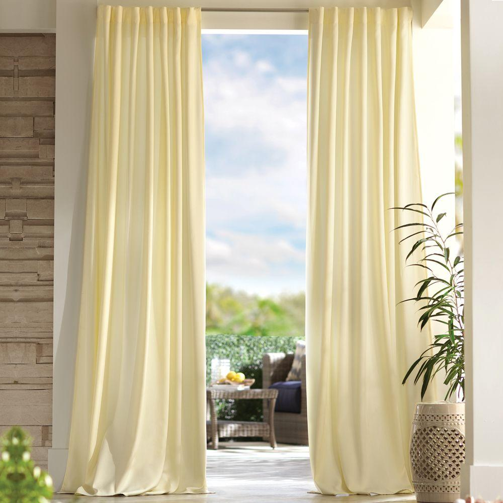 Home Decorators Collection Semi-Opaque Cream Outdoor Back Tab Curtain