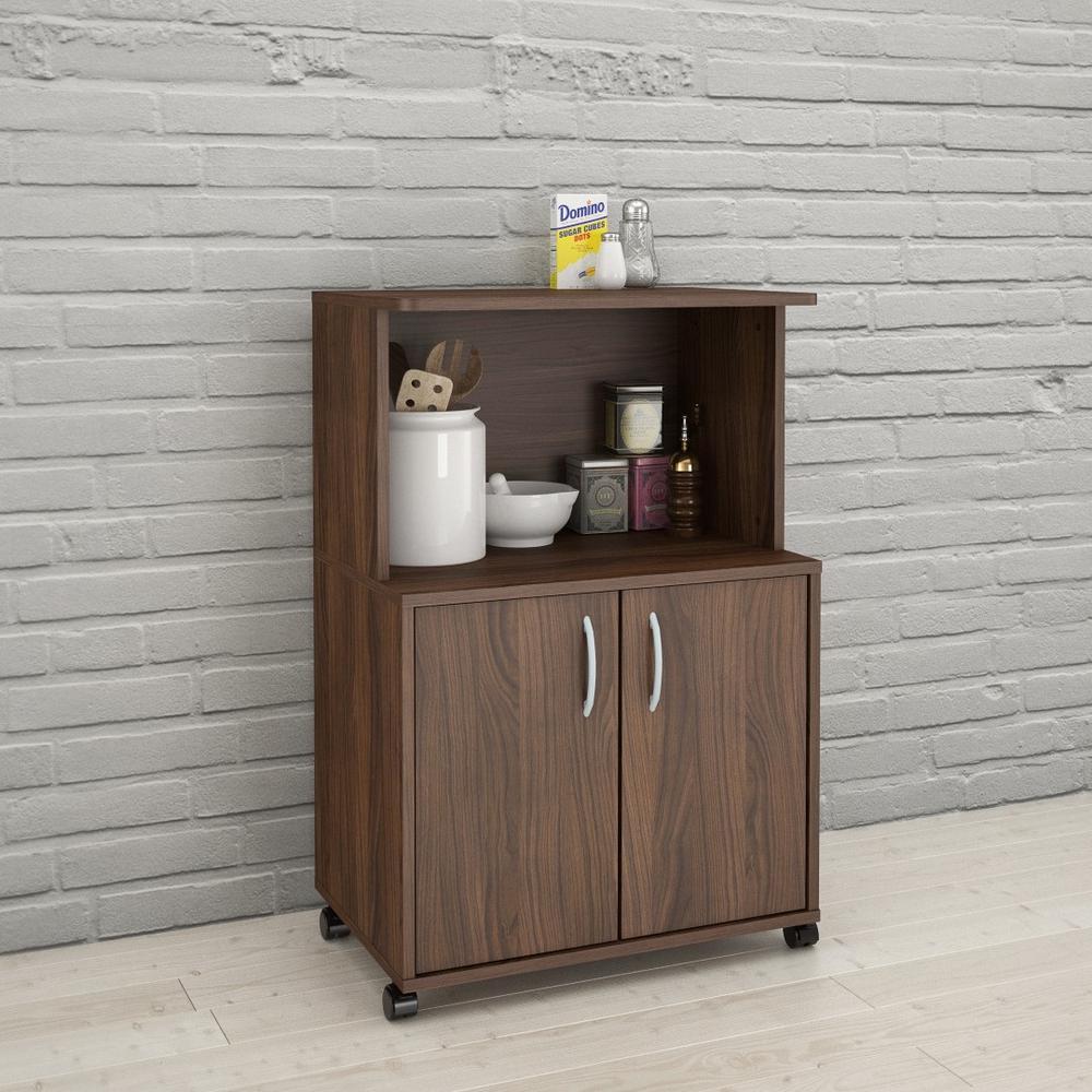 Walnut Kitchen Cart With Storage Cabinet