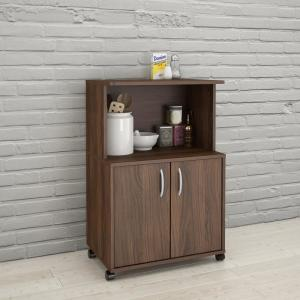 Click here to buy  Walnut Kitchen Cart with Storage Cabinet.