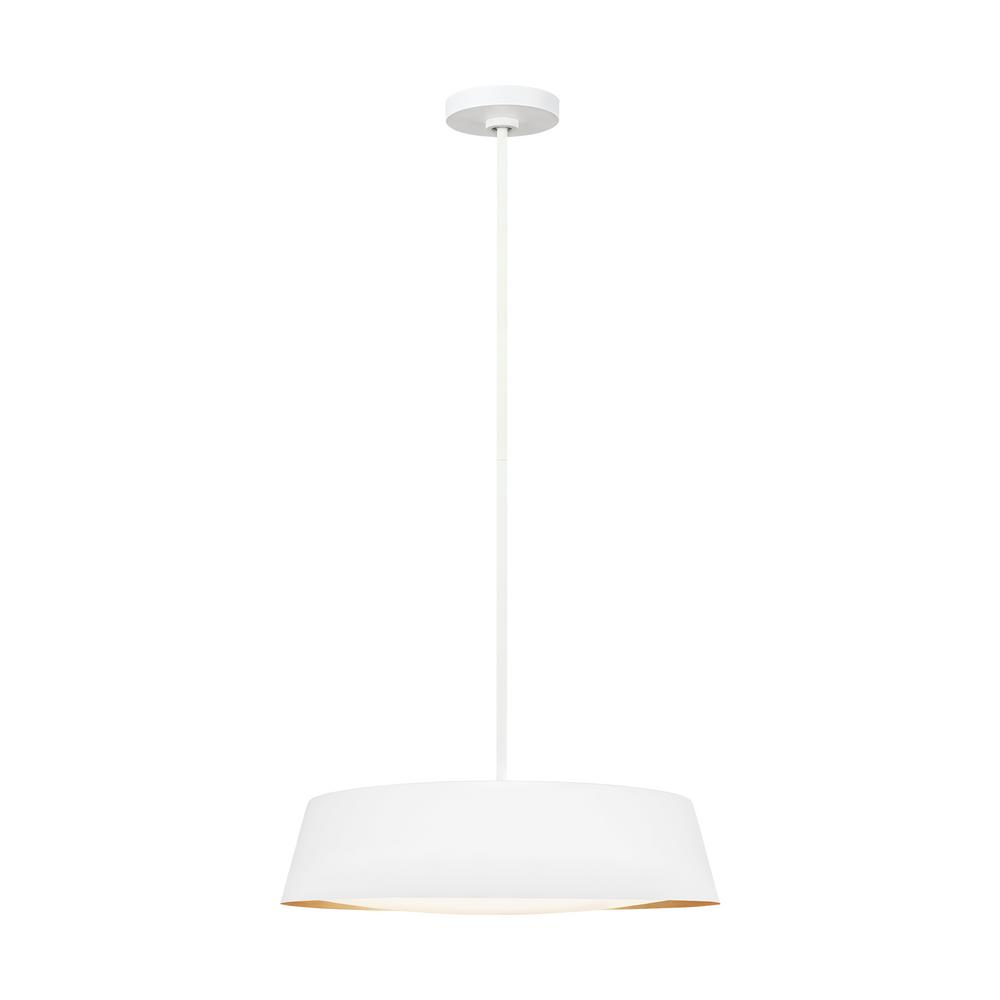 Generation Lighting Designer Collections ED Ellen DeGeneres Crafted by Generation Lighting Asher 19 in. W 5-Light Matte White and Gold Leaf Pendant with Diffuser