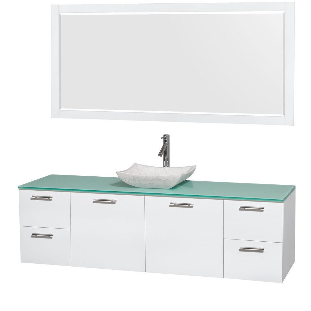 Wyndham Collection Amare 72 in. Vanity in Glossy White with Glass Vanity Top in Green, Marble Sink and 70 in. Mirror