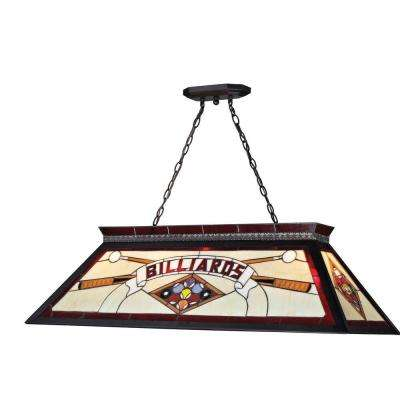 Play 4-Light Red and Black Classic Billiard Light with Multi Colored Tiffany Glass Shade