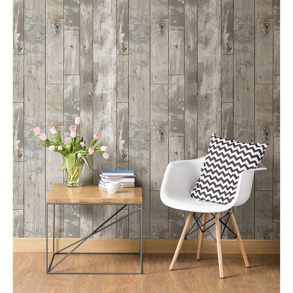Deena Grey Distressed Wood Wallpaper Sample