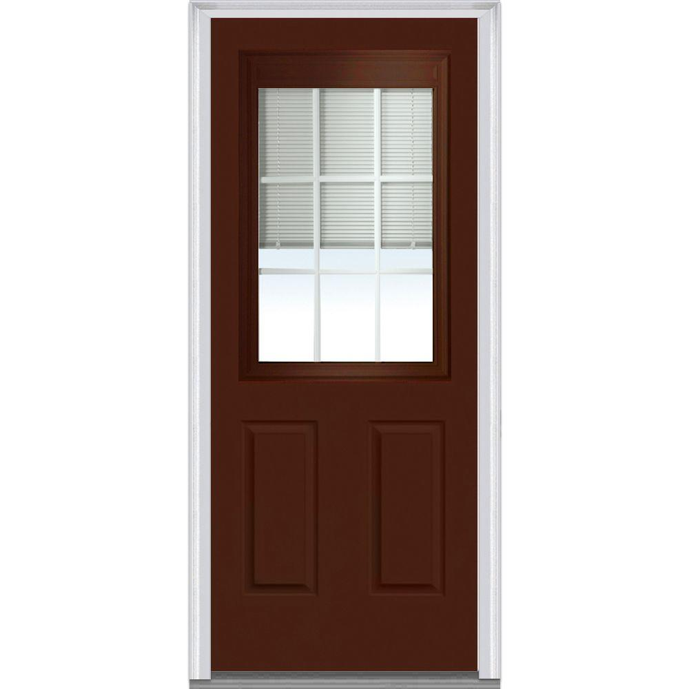 Mmi Door 36 In X 80 In Internal Blinds And Grilles Right Hand Inswing 1 2 Lite Clear Low E