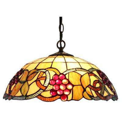 Tiffany Style 2-Light Berries Hanging Pendant Lamp 16 in. Wide