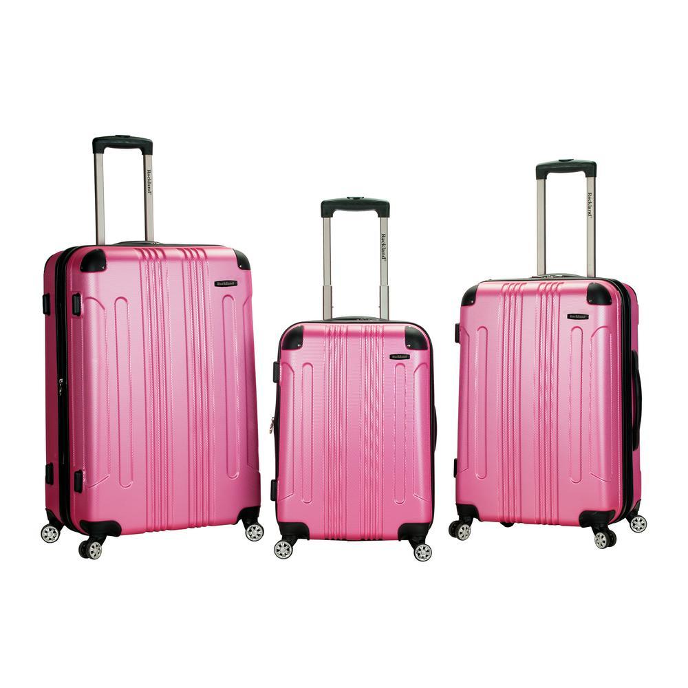 Rockland Sonic 3-Piece Hardside Spinner Luggage Set, Pink
